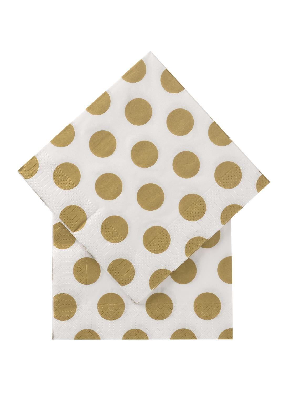 HEMA Servetten – 33 X 33 – Papier – Goud Stippen – 20 Stuks (goud) | 8713745294307