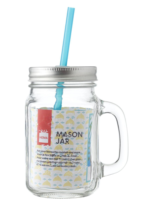 HEMA Mason Jar Met Rietje 450ml   8716618917952